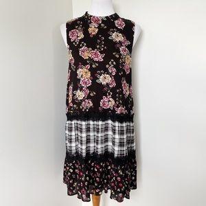 LOVE, FIRE Floral Plaid Sleeveless Dress Size XL